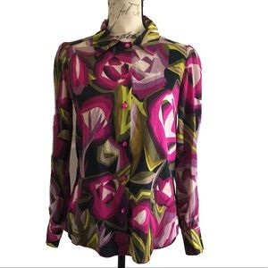 Missoni for Target Floral Button Down Blouse Top